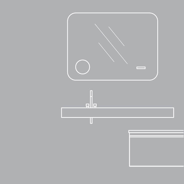 Colectia Idea. O explorare a formelor expresive, texturi, linii drepte și a spațiului de depozitare pentru un mobiler de baie.